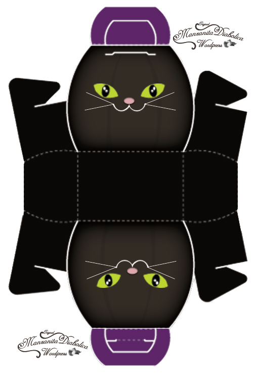 Шаблон коробочки в виде кошки