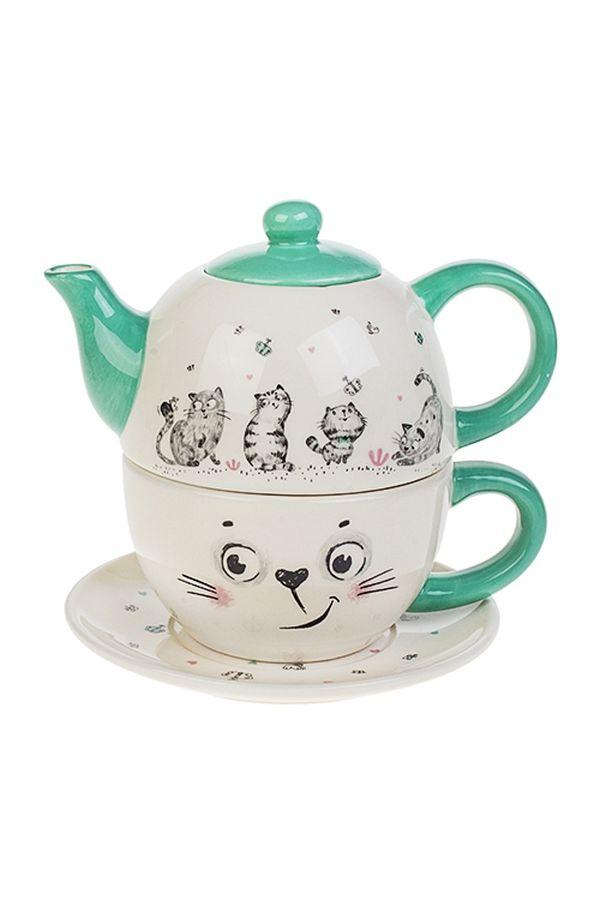 Набор чайник с чашкой Котики