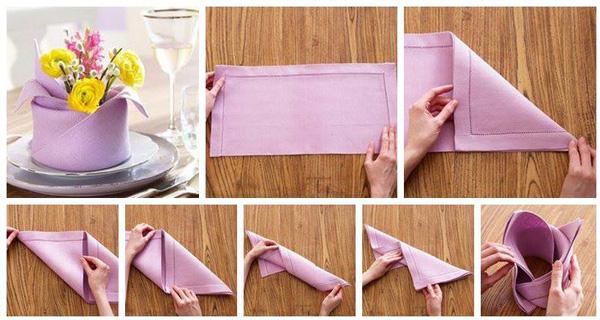 Как сложить салфетку в виде вазочки для цветов