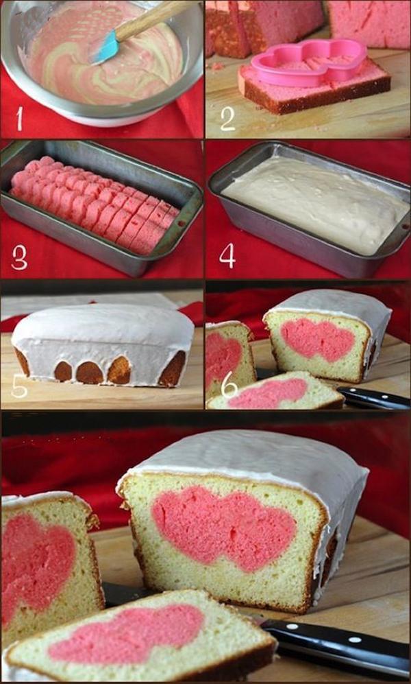 Кекс с сердечками внутри
