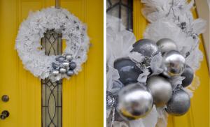 Оригинальный рождественский венок из полиэтилена и лампочек