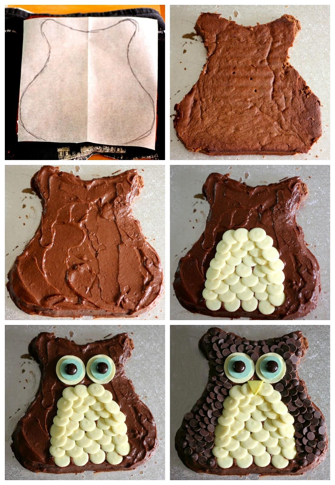 Торт в виде совы, украшенный шоколадными капельками