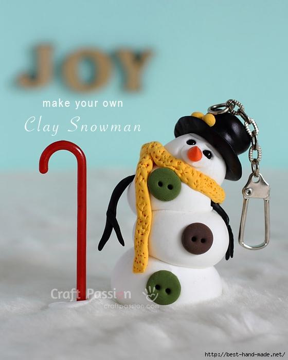 Забавный снеговик из полимерной глины