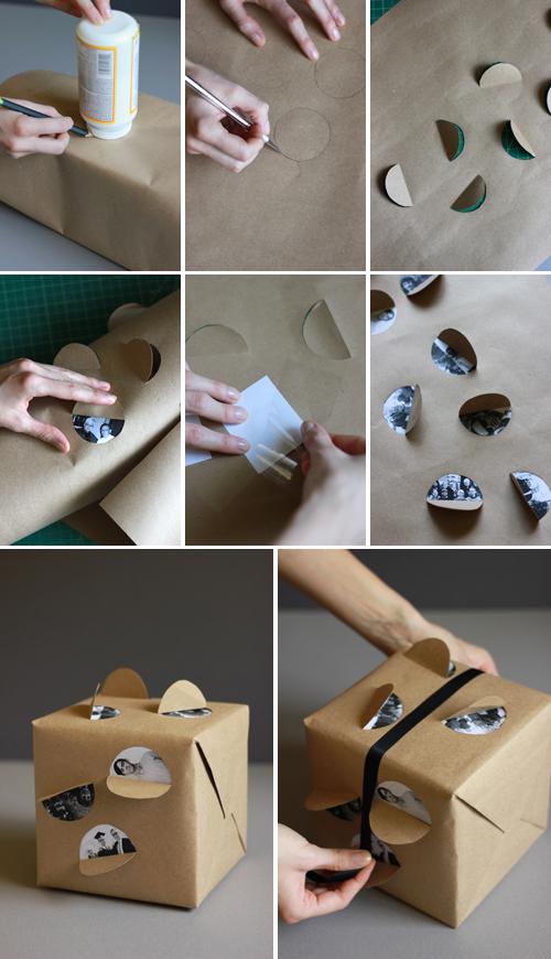 Упаковка подарка с фотографиями