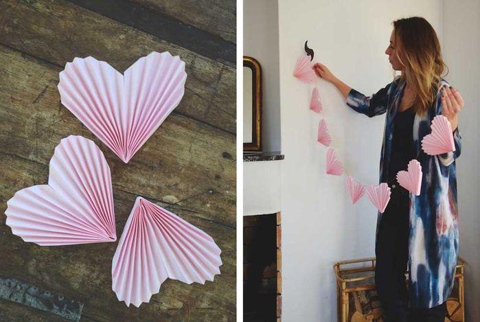 Гирлянды из сердечек для украшения свадьбы