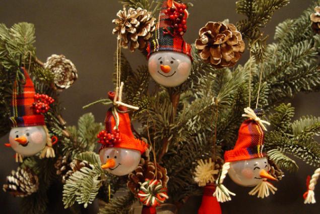 Снеговики из лампочек на ёлку своими руками