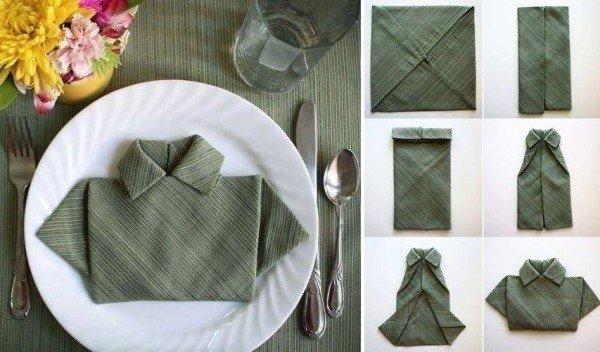 Как сложить рубашку из салфеток