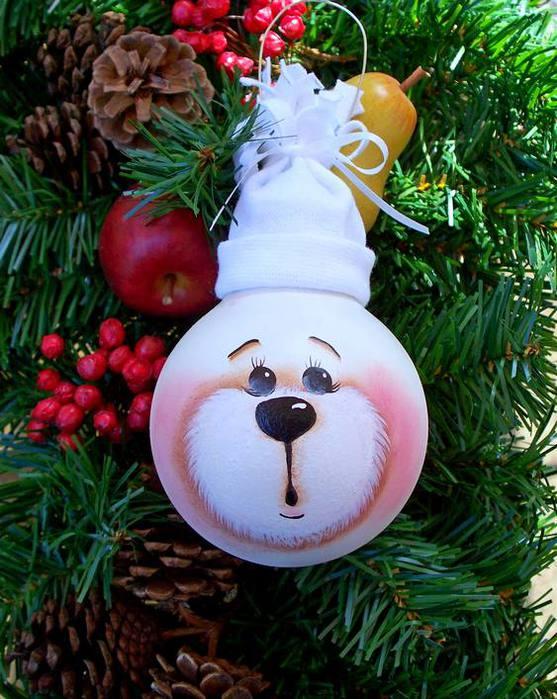 Ёлочные игрушки из лампочек