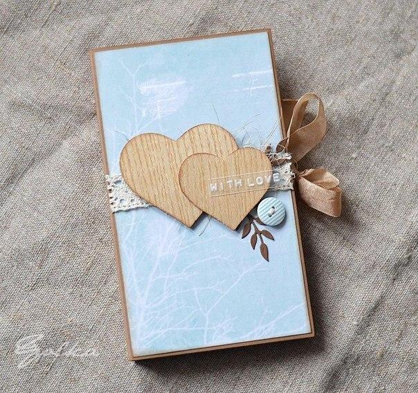 Милая открытка-шоколадница с кармашками для чая