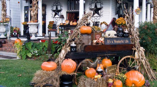 Декор двора и порога к Хэеллоуину фото идеи