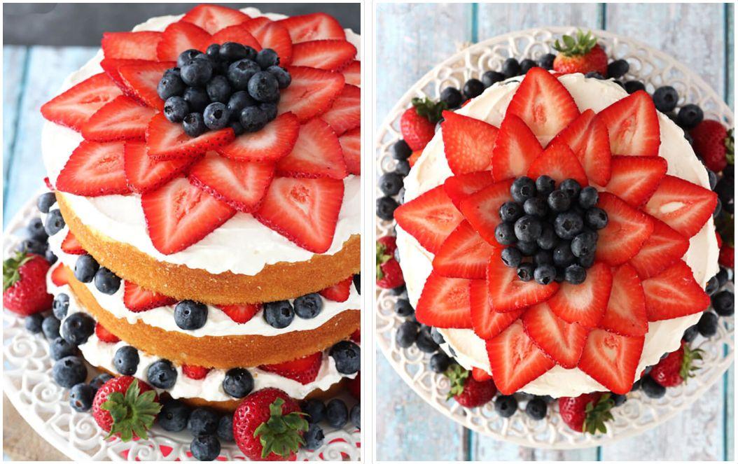 Украшение торта голубикой и клубникой