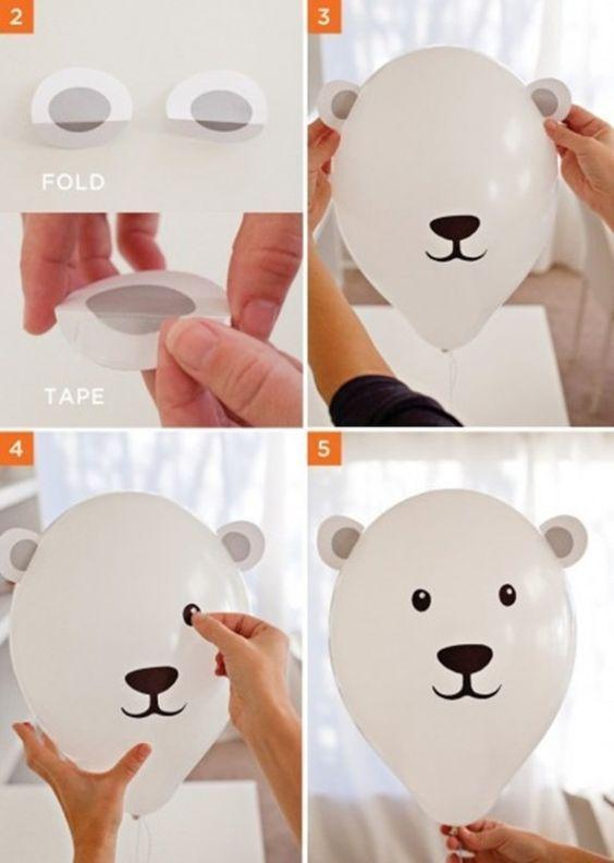 Воздушный шарик в виде мишки своими руками
