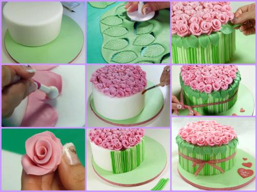 Как украсить торт мастикой. Букет роз