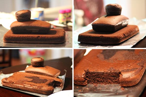 Как сложить коржи для торта в виде танка