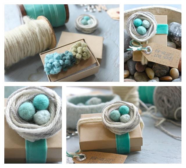 Маленькие декоративные гнезда из ниток