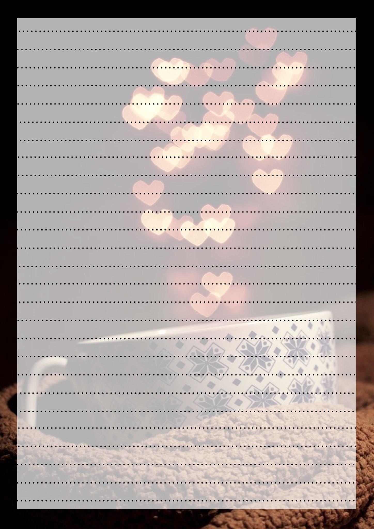 Шаблон письма с чашкой и сердечками