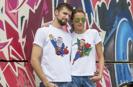 Парные новогодние футболки