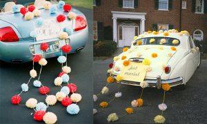 Украшение свадебной машины помпонами