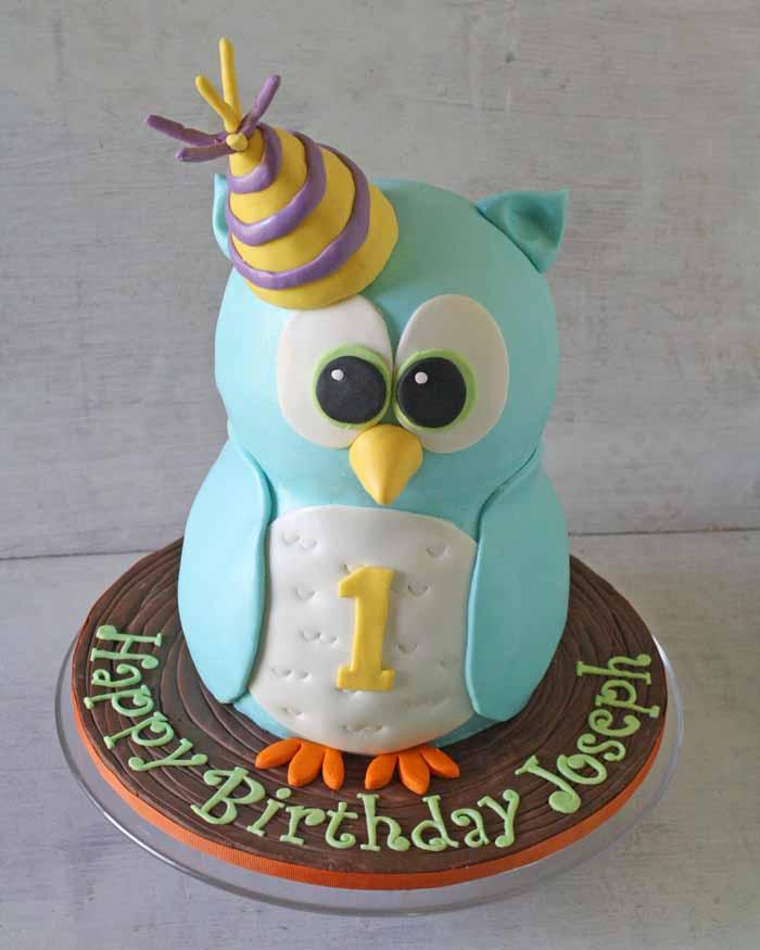 Торт на детский день рождения в виде совушки