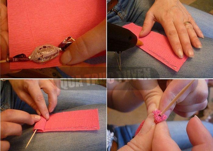 Как сделать цветы из конфет и гофрированной бумаги