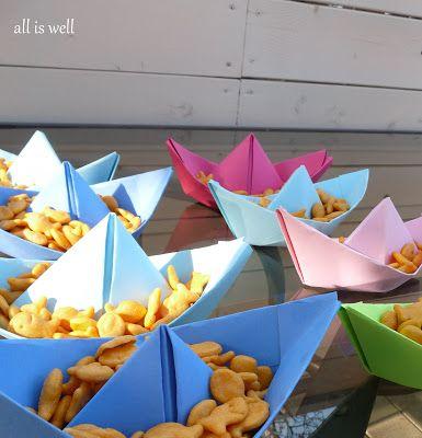 Бумажные кораблики для сервировки стола