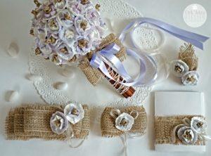 Свадебный букет из джута и папиросной бумаги
