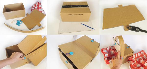 Декоративная пасхальная корзина из коробки