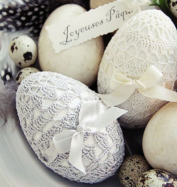 Кружевные пасхальные яйца