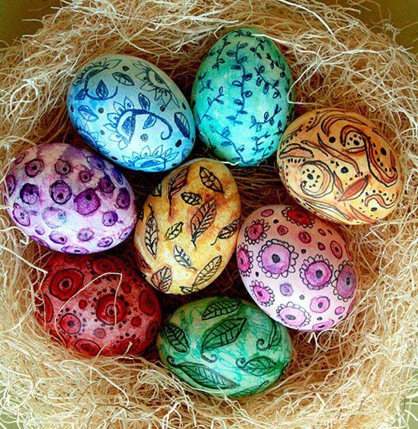 Акварельные пасхальные яйца