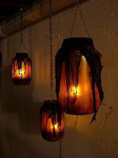 Жуткие банки-подсвечники на Хэллоуин