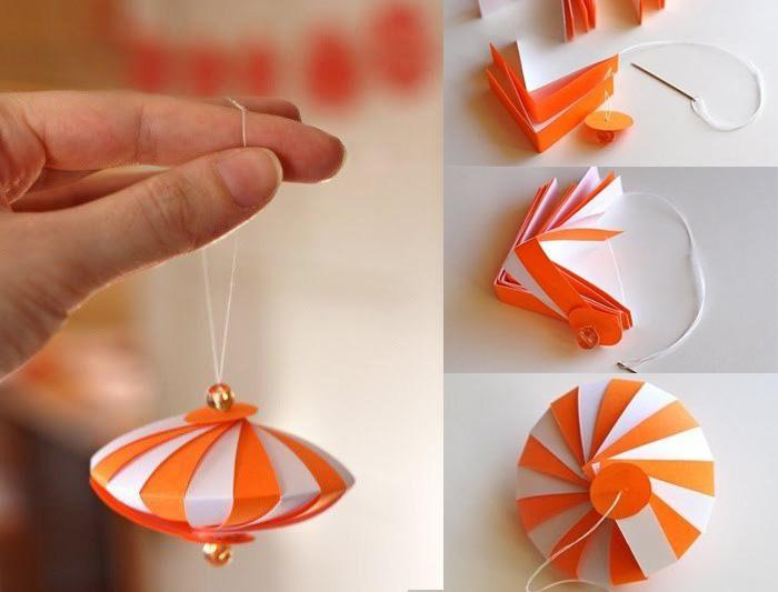 Как сделать елочную игрушку из бумаги