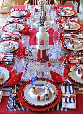 Украшение стола в морском стиле