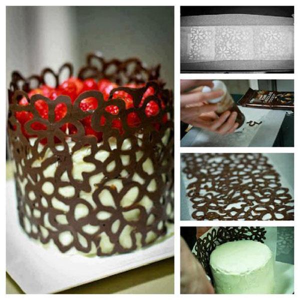Как сделать ажурные борта из шоколада для торта