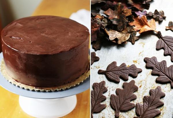 Украшение торта дубовыми листьями из шоколада