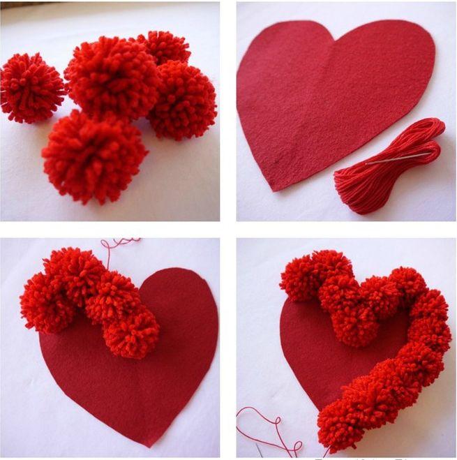 Как сделать сердце из помпонов для декоративной подушки