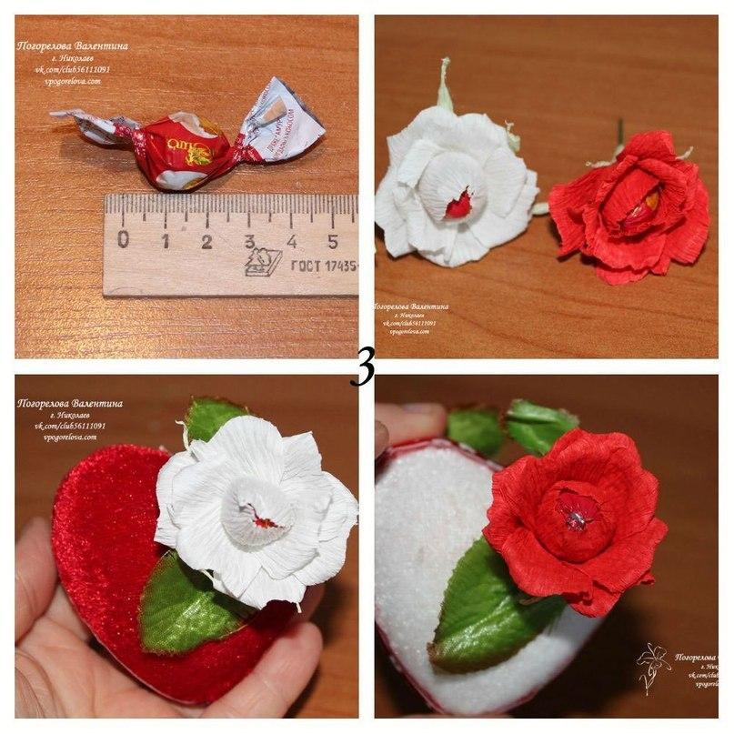 Как сделать сердце с конфетами