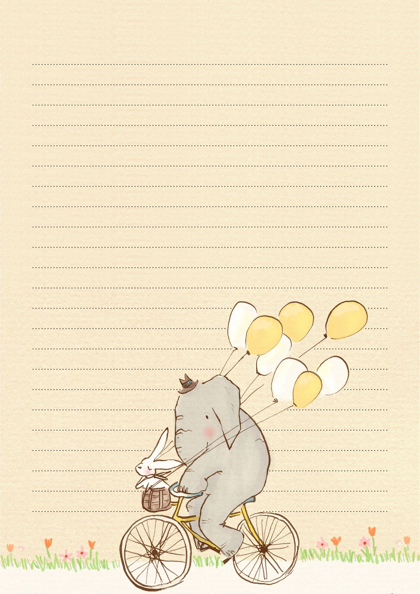 Шаблон письма со слоником на велосипеде