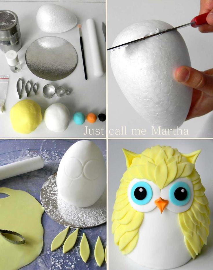 Торт в виде совы: украшаем кремом и мастикой