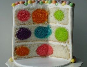 Торт с разноцветными шариками внутри
