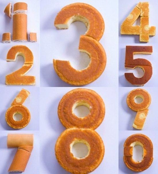 Как сложить коржи в виде цифры
