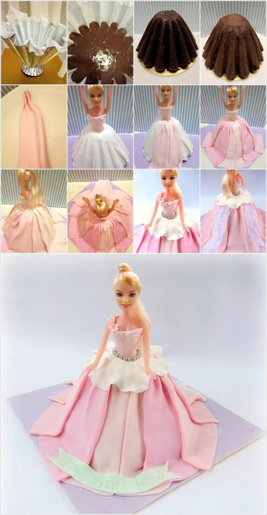 Торт в виде пышного платья для куклы своими руками