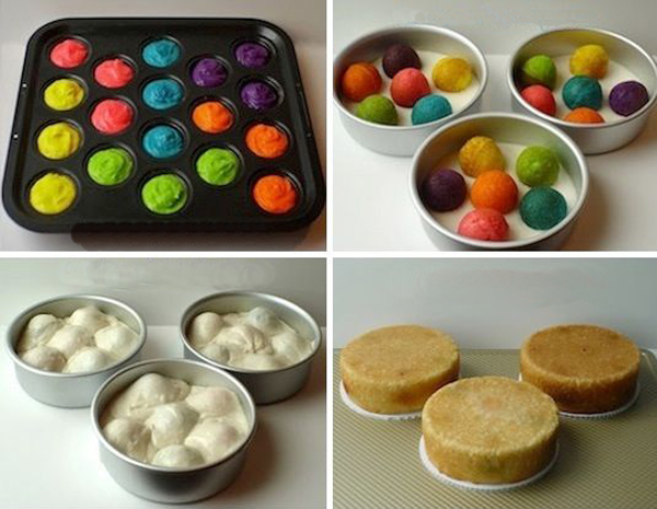 Как сделать торт с разноцветными шариками внутри