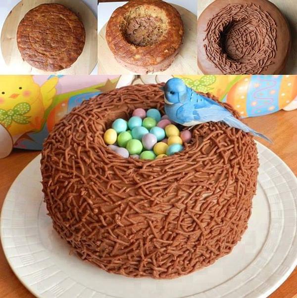 Торт в виде гнезда