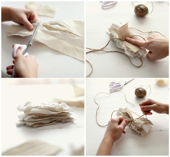 Как сделать цветок из ткани и кружева