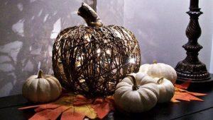Светильник в виде тыквы из джута
