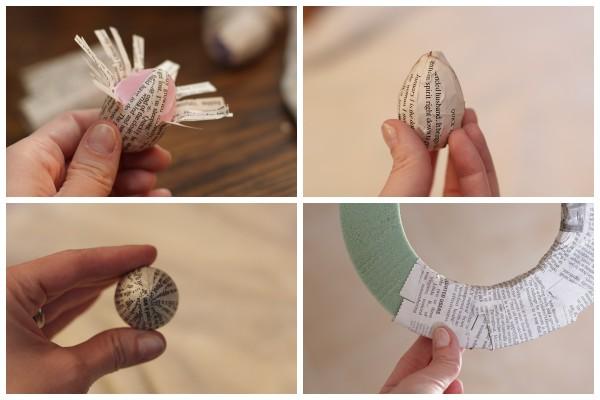 Декор пасхальных яиц книжными страницами