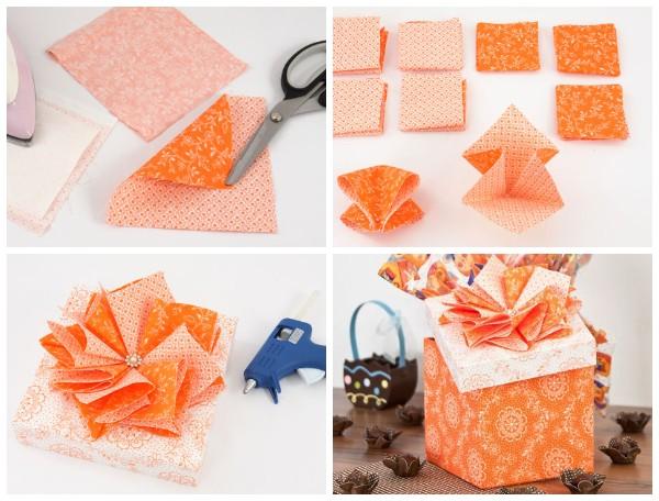 Букет из конфет и коробочка для подарка своими руками
