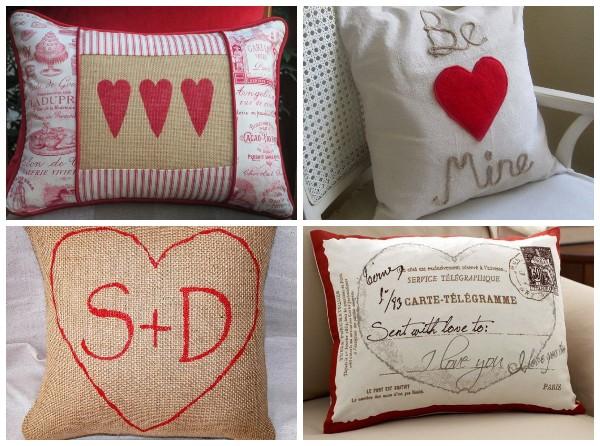 Декоративные подушки с сердечками