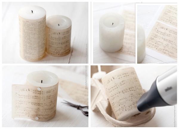 Нотная свеча в винтажном стиле