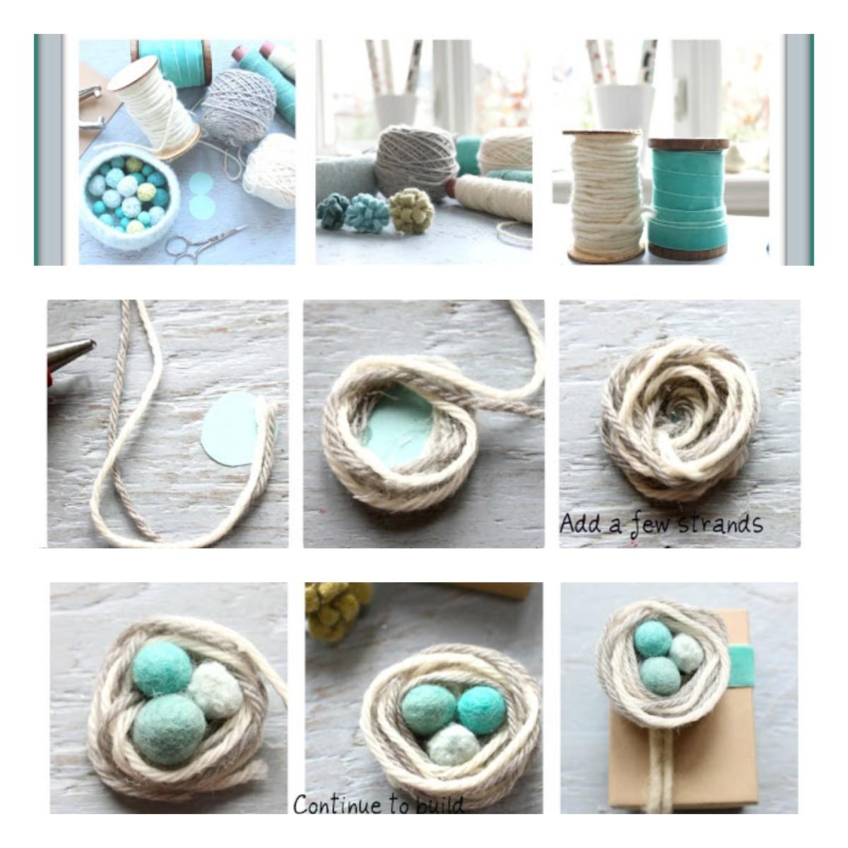 Как сделать маленькое гнездышко с яйцами?